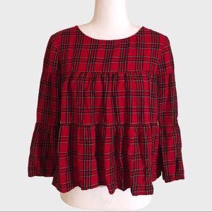 Madewell plaid tiered button back top